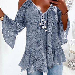 🌼Coming Soon🌼 Classy Blue Laced Cold Shoulder